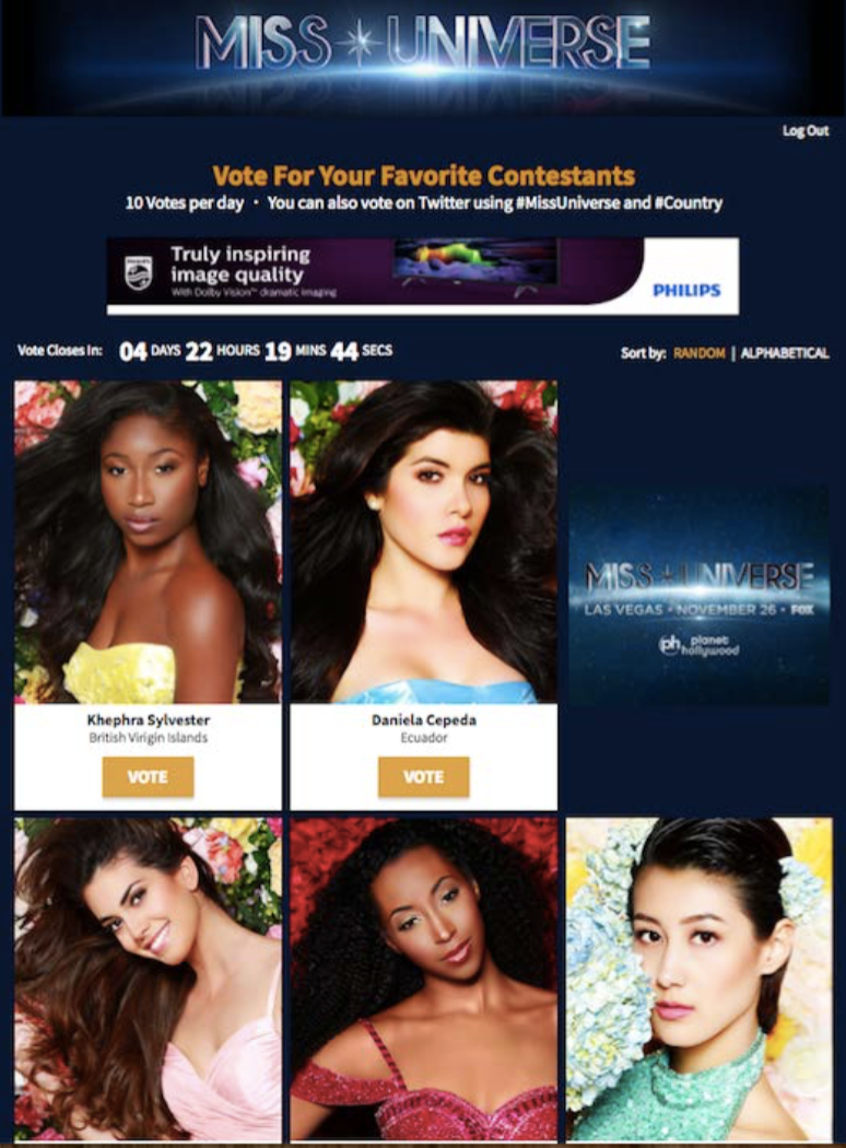 Miss Universe Global Fan Vote The Shorty Awards